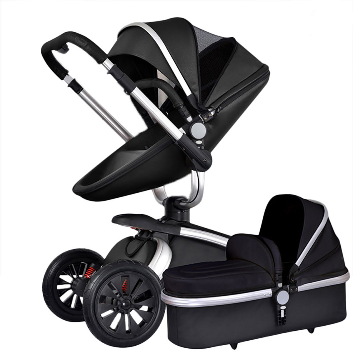 Baby-Stroller-leather-Carriage-Infant-Foldable-Travel-System-Pram-Pushchair-Car
