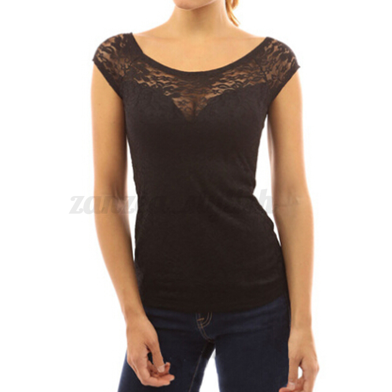 damen sommer kurzarm spitze crochet t shirt longshirt. Black Bedroom Furniture Sets. Home Design Ideas
