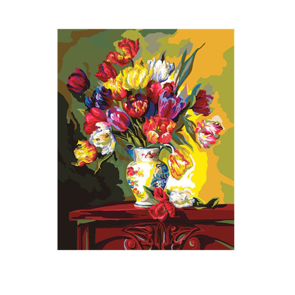 40 50cm flower diy paint by number kit on canvas painting for Diy flower canvas wall art