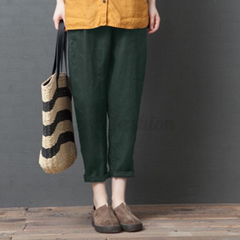 ZANZEA-Femme-Pantalon-Casual-en-vrac-100-coton-Couleur-Unie-Taille-elastique miniature 10