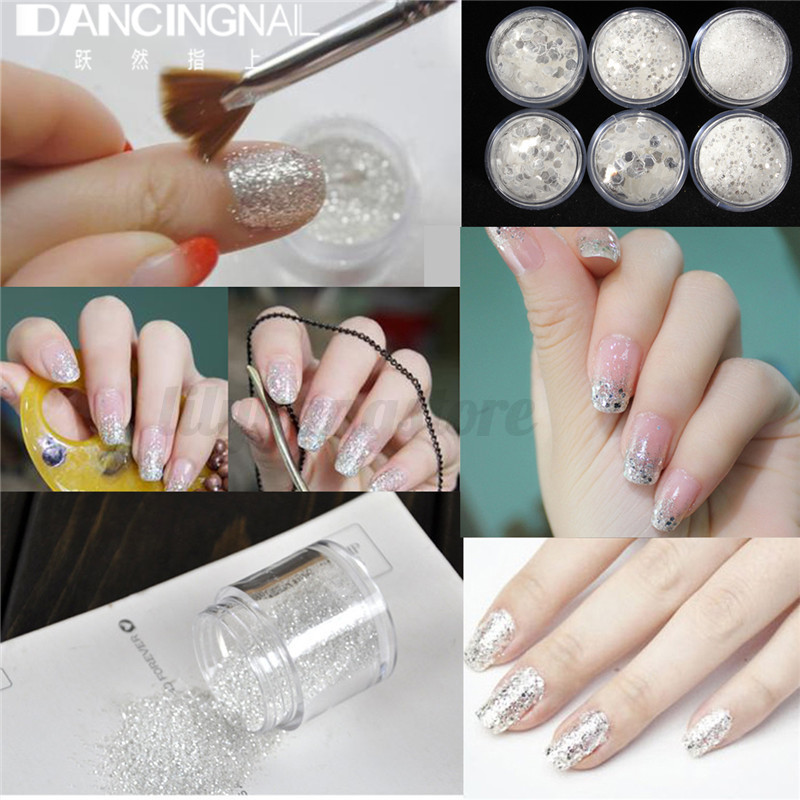 10ml Nail Art Glitter Powder Dust Tips White Silver 1-3mm Mixed ...