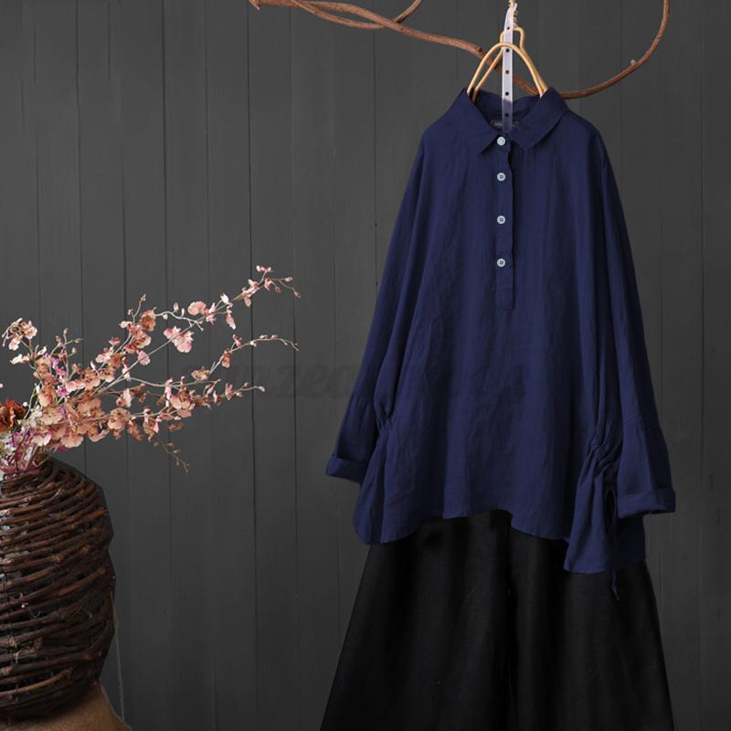 College-Femme-Chemise-a-Manche-Chauve-souris-Shirt-Tops-Decontracte-lache-Plus miniature 9