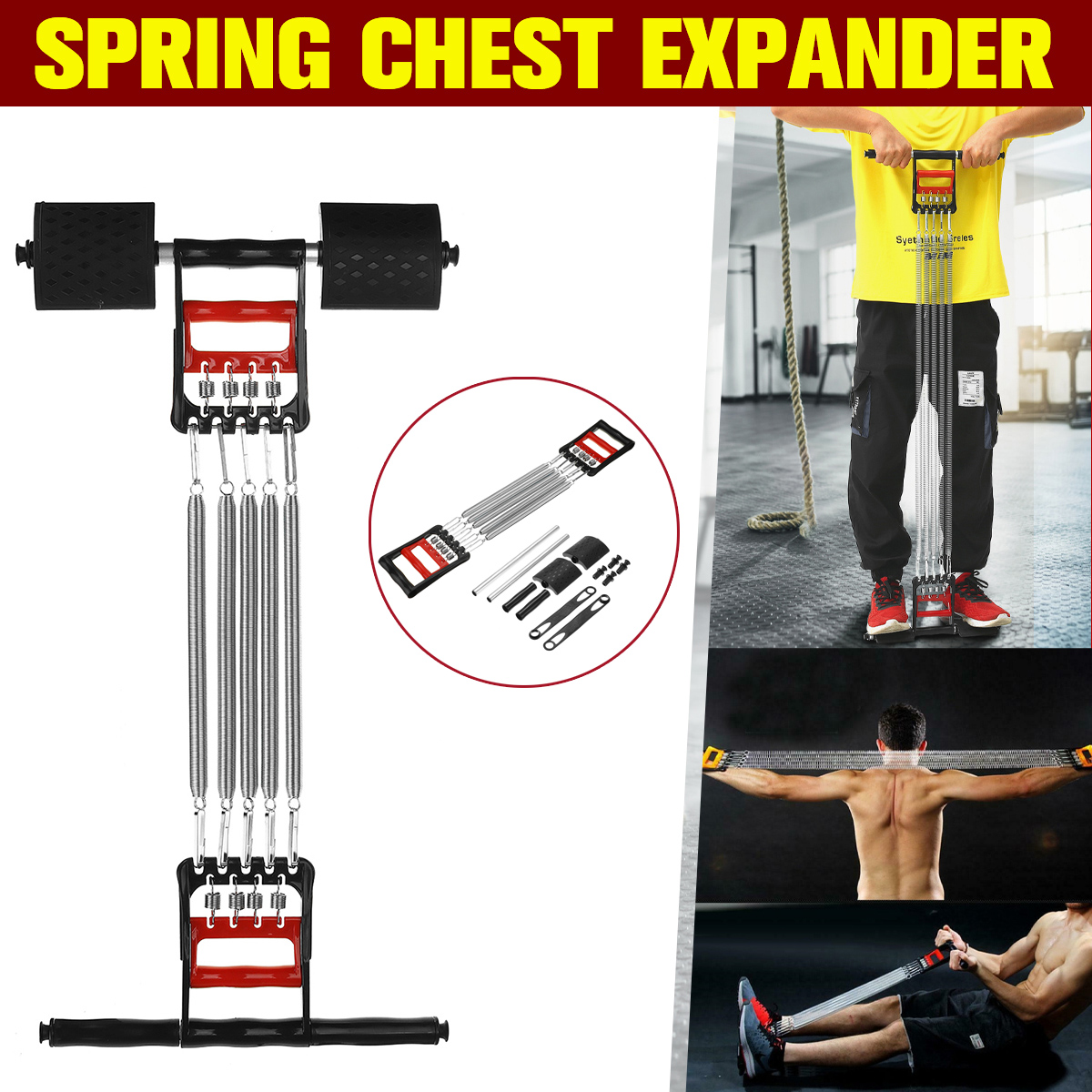 5 Springs 3 In 1 Chest Expander Exercise Fitness Puller Muscle Stretcher Gym
