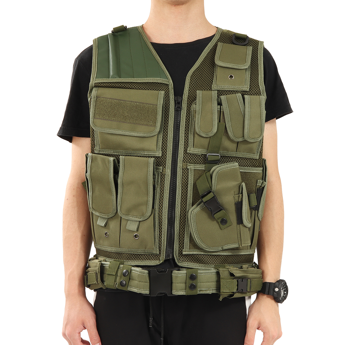 Military-Tactical-Vest-Carrier-Plate-Combat-Holster-Molle-Airsoft-Paintball-Vest