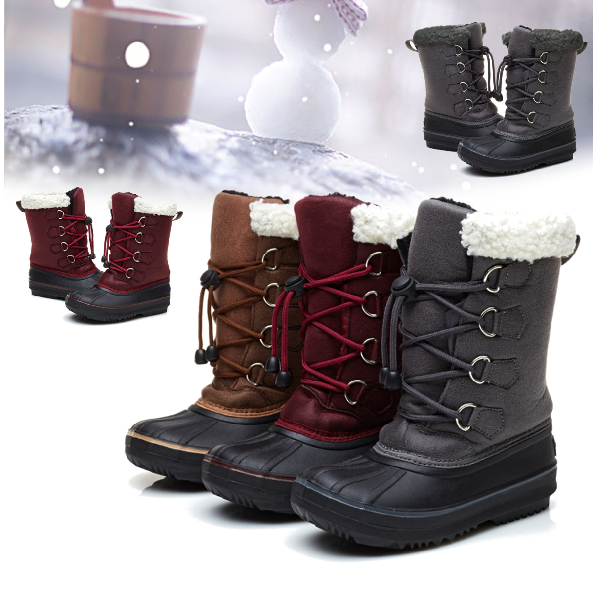 Kids Boys Snow Boots Wool Shoes Thicken Non-slip Leather Waterproof Warm Grils