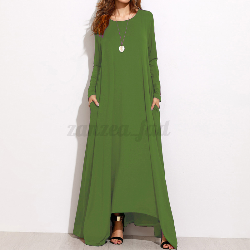 ZANZEA-AU-8-24-Women-Oversized-A-Line-Long-Sleeve-Maxi-Dresses-Kaftan-Plus-Size