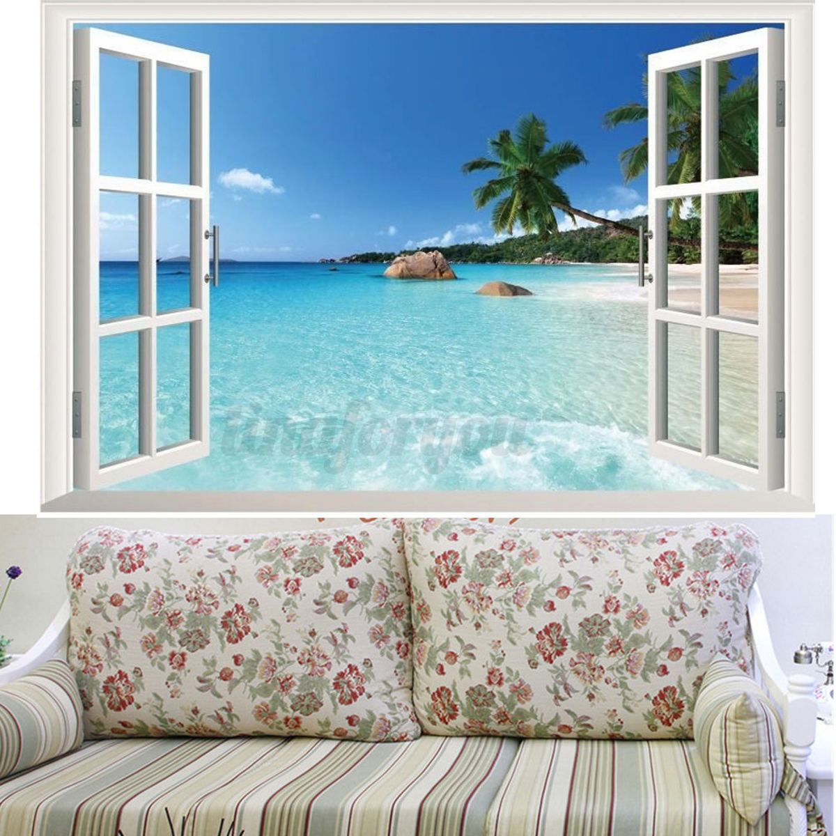 Beach window view scenery 3d wall stickers vinyl art mural for Beach wall mural decals