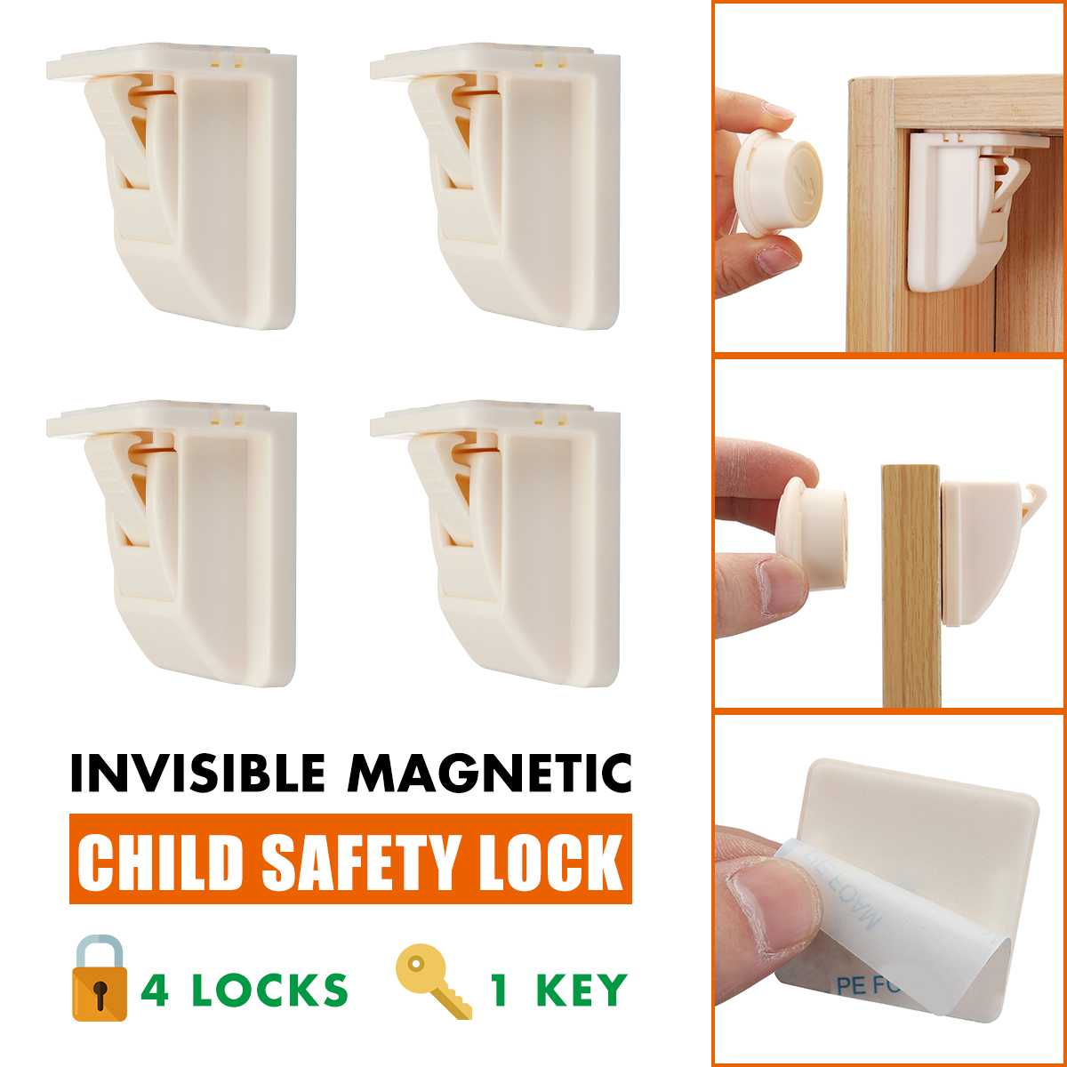 Magnetic Drawer Kitchen Cabinet Cupboard Lock Latch----Child Baby Toddler Safety