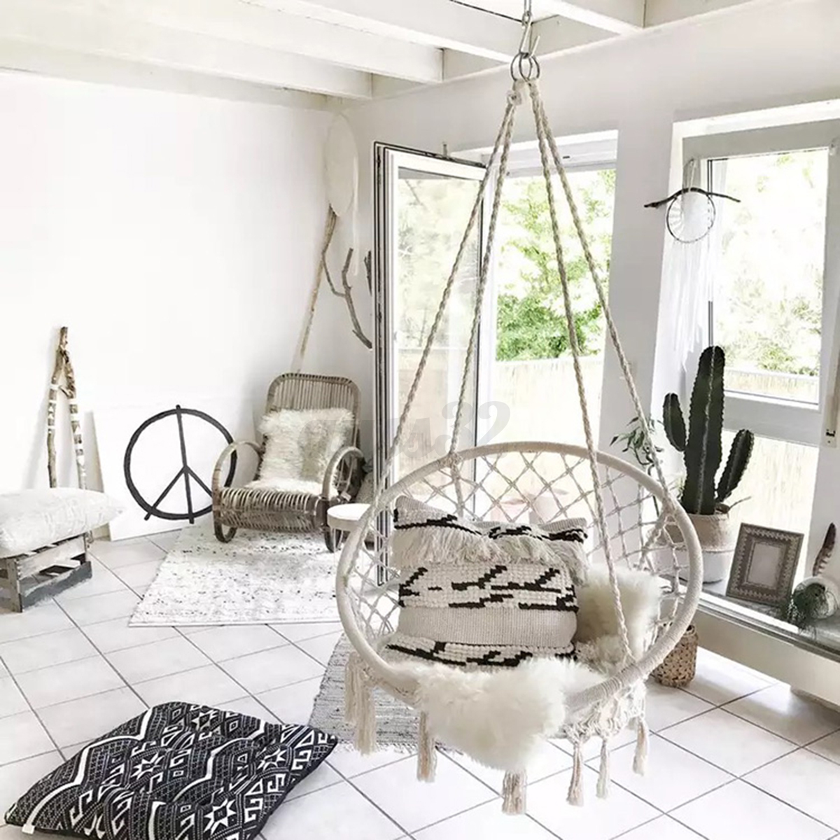 Beige hanging cotton rope macrame hammock chair swing for How to hang a hammock in a room