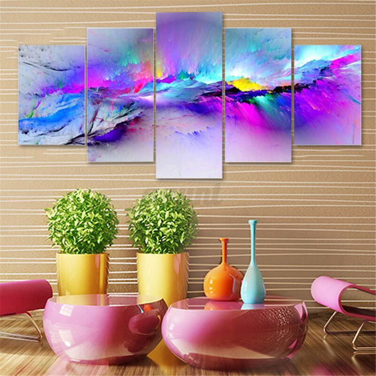 Konda Art Framed Handmade Purple Flower Oil Painting On: Modern Abstract Tree Flowers Poster Art Canvas Prints