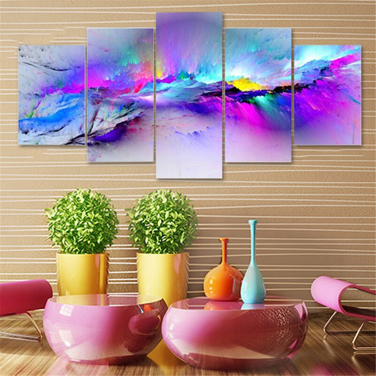 Purple Flower Oil Painting Abstract Wall Art Picture: Flower Modern Abstract Art Canvas Oil Painting Picture