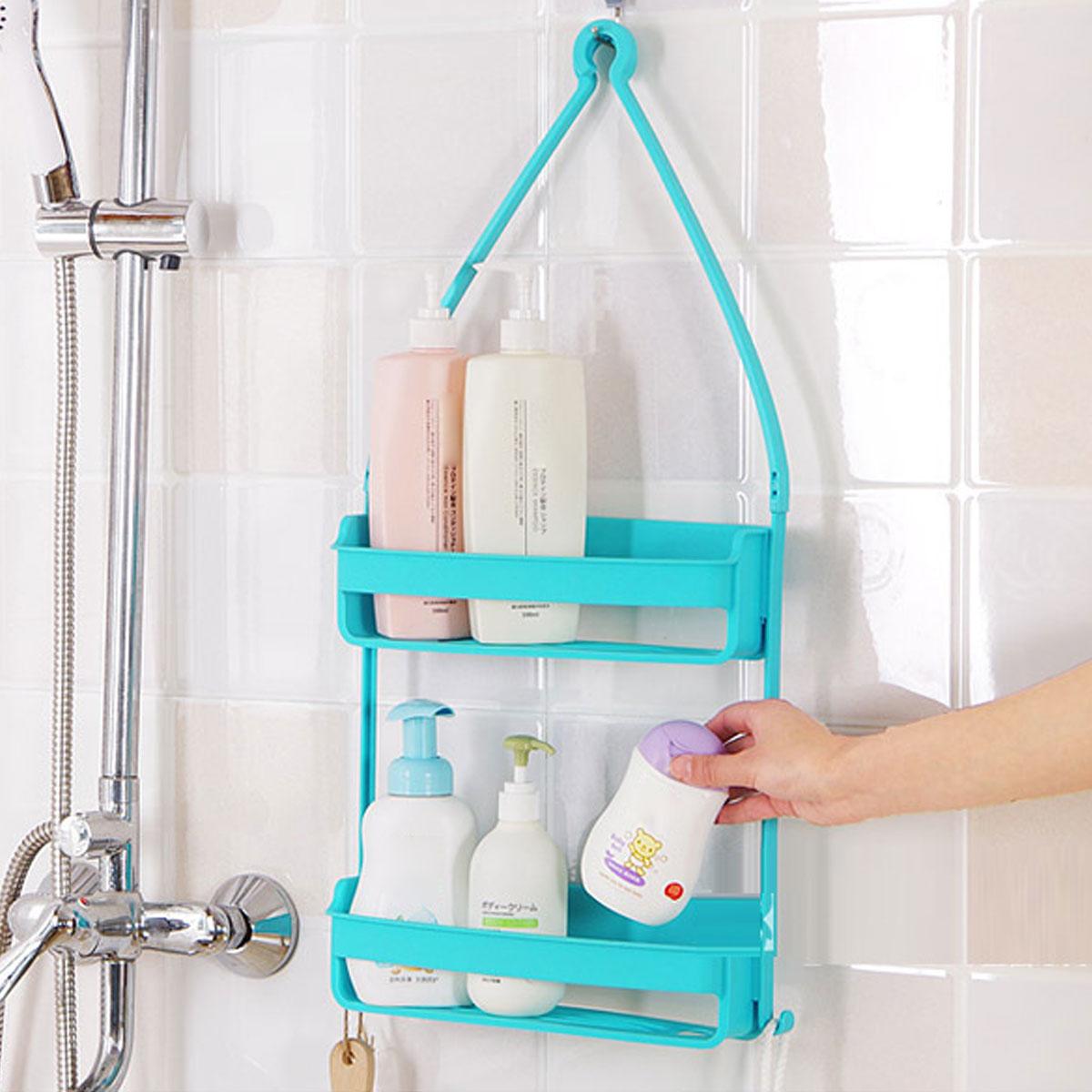 2 Tier Bathroom Caddy Shower Organiser Shelf Hanging Shampoo Storage ...
