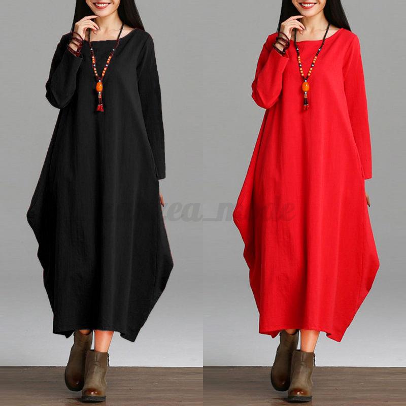Women-Oversized-Plus-Size-Loose-Long-Sleeve-Maxi-Long-Dress-Baggy-Kaftan-Blouses