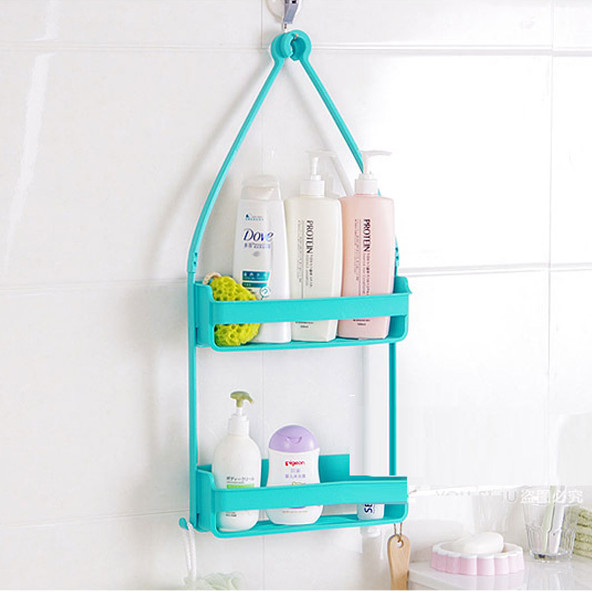 2Layers Bathroom Kitchen Hanging Shelf Caddy Hooks Shower Bath ...