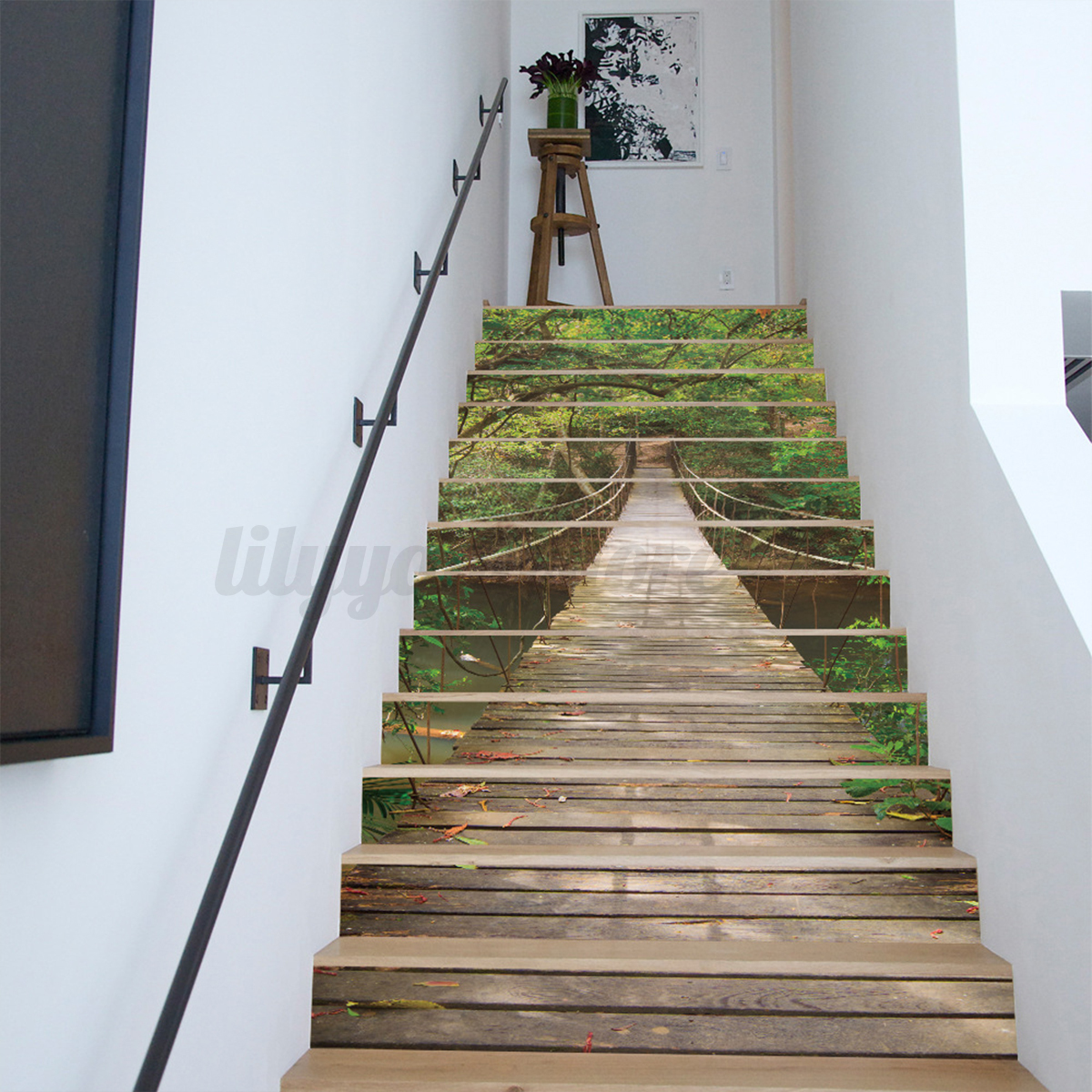 13pcs 3d landscape stair risers decor photo mural decal for Diy photo wall mural