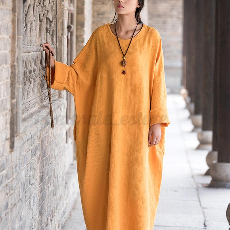 ZANZEA-Women-Vintage-Long-Sleeve-Batwing-Casual-Solid-