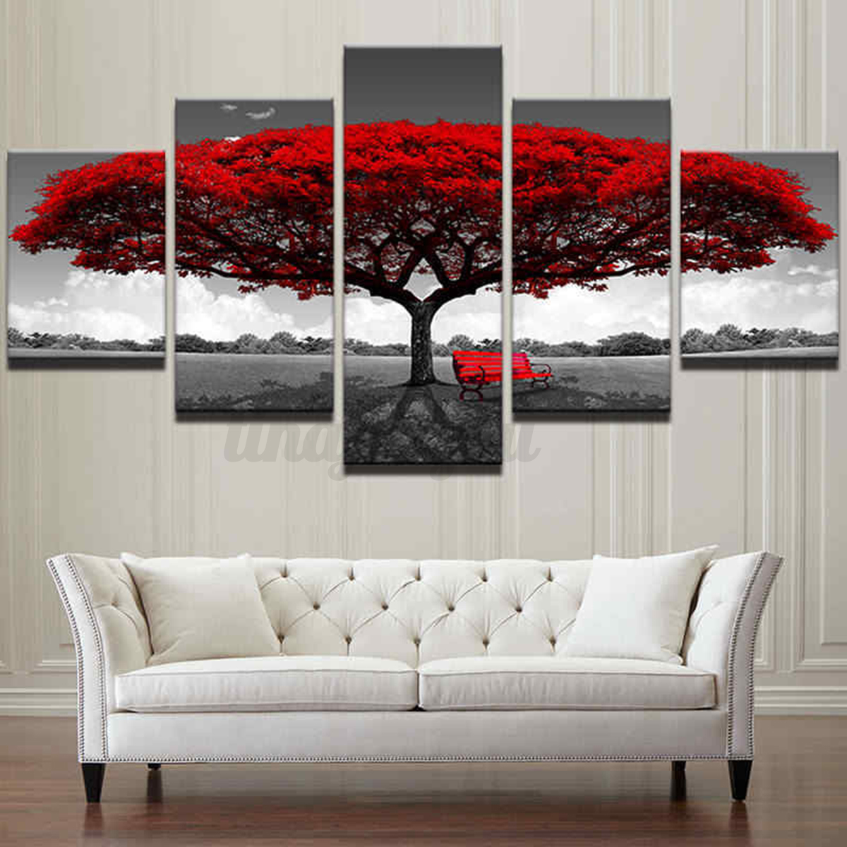 Home Decor Canvas Print Painting Wall Art Modern Red Tree Scenery Bench No Frame Ebay