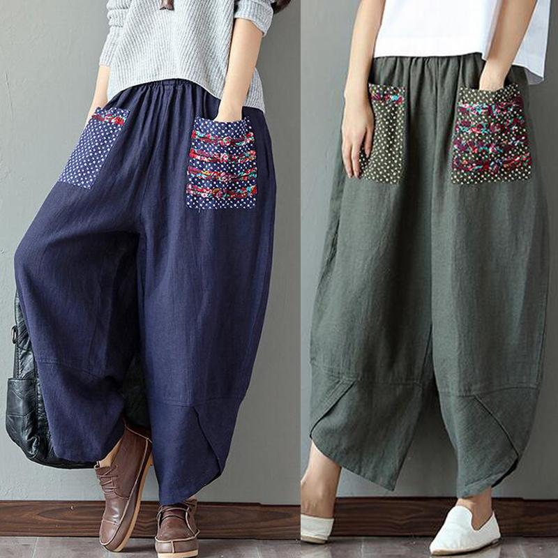 M-5XL Damen Mode Vintage Baumwolle Leinen Patchwork Weites Bein Lange Haremhosen