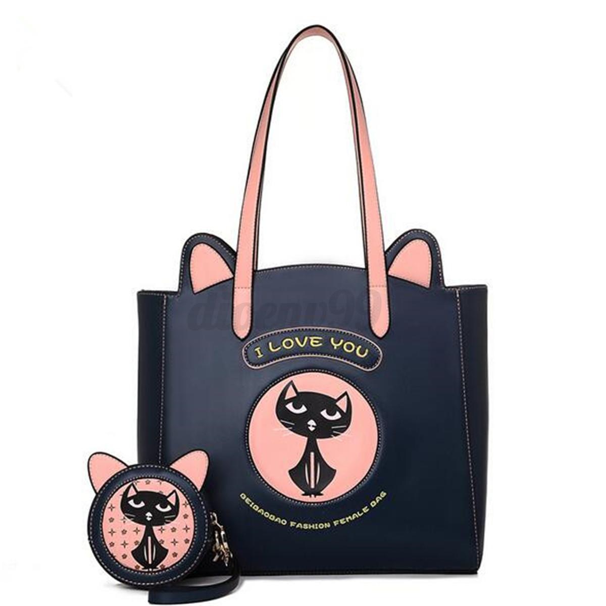 2PCS-Donna-PU-Pelle-Gatto-Borsa-da-Spalla-Portafoglio-Purse-Viaggio-Handbag