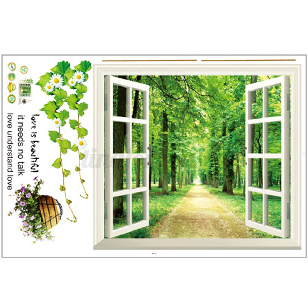 Beach window view scenery 3d wall stickers vinyl art mural for Decal wall art mural