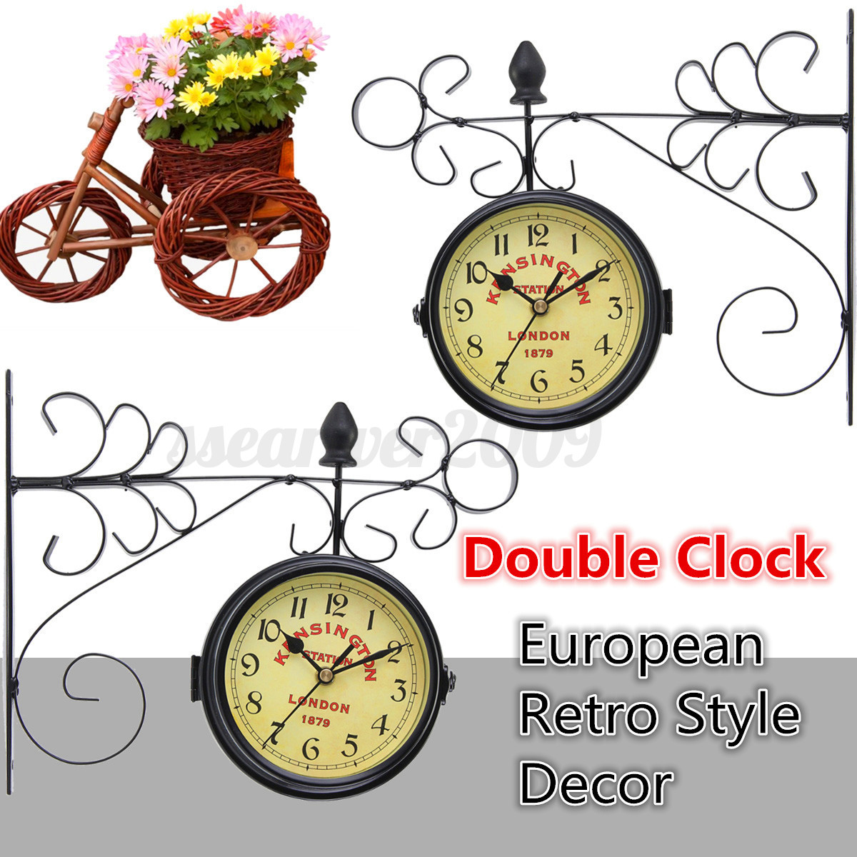 vintage antique double sided wall mount station clock home hallway