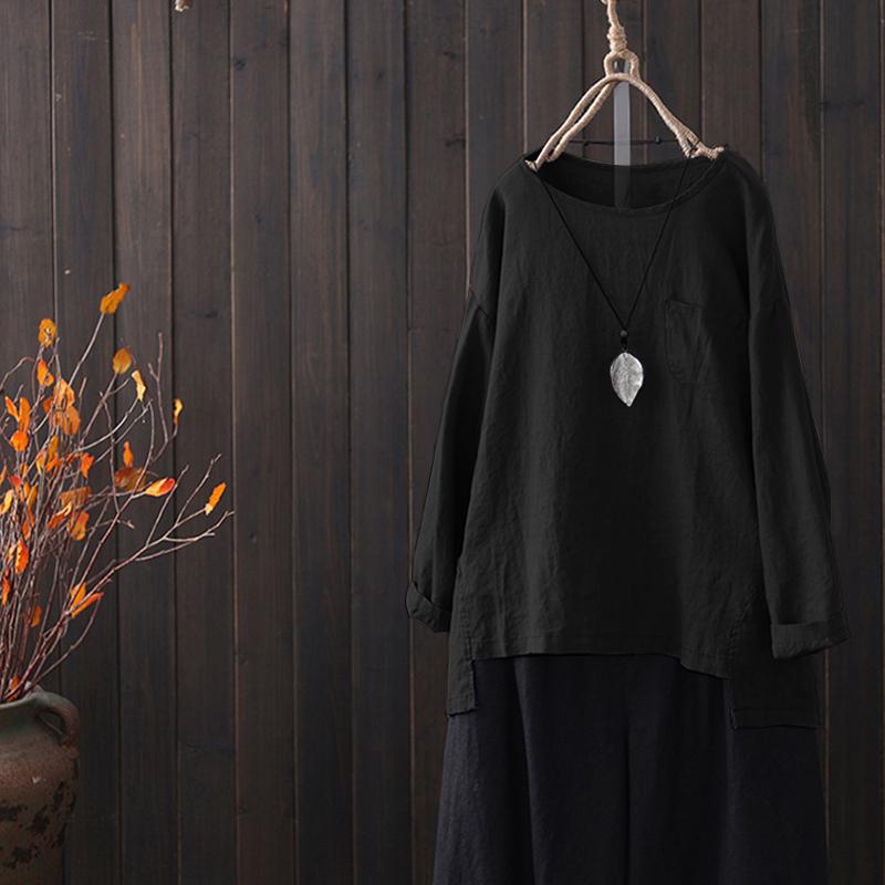 ZANZEA-8-24-Women-Pullover-Top-Tee-Shirt-Crewneck-Loose-Baggy-Long-Sleeve-Blouse thumbnail 8