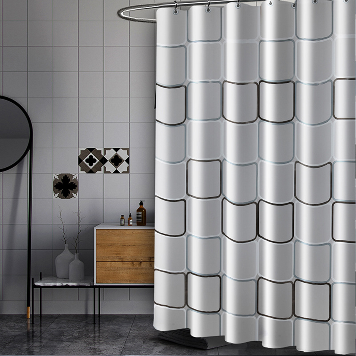 Details About 180cm Modern Shower Curtain Waterproof Polyethyle Fabric Bathroom Curtains Hooks