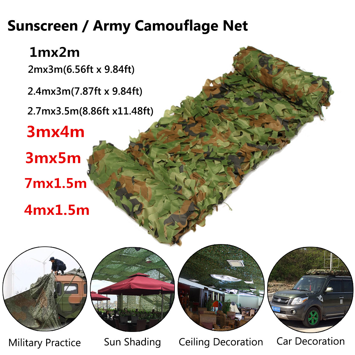 Camouflage Camo Army Net Netting Woodland Camping Hunting Cover Shade 2 Sizes