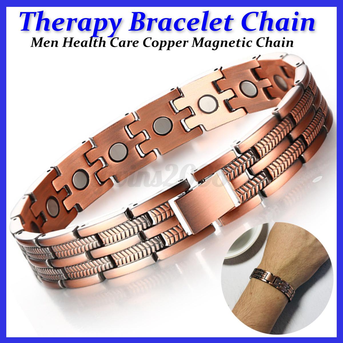Cuivre-Acier-inoxydable-Therapie-Magnetique-Energie-Bracelet-Bangle-Soins-Sante miniature 14
