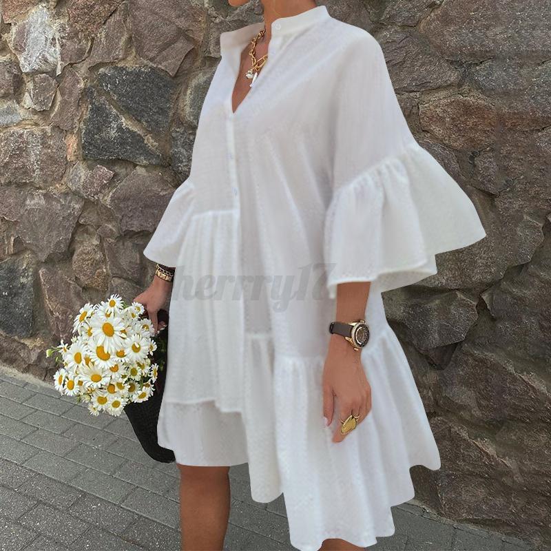 thumbnail 10 - UK-Womens-Summer-Ruffles-Sleeve-Irregular-Hem-Sundress-Casual-Loose-Shirt-Dress