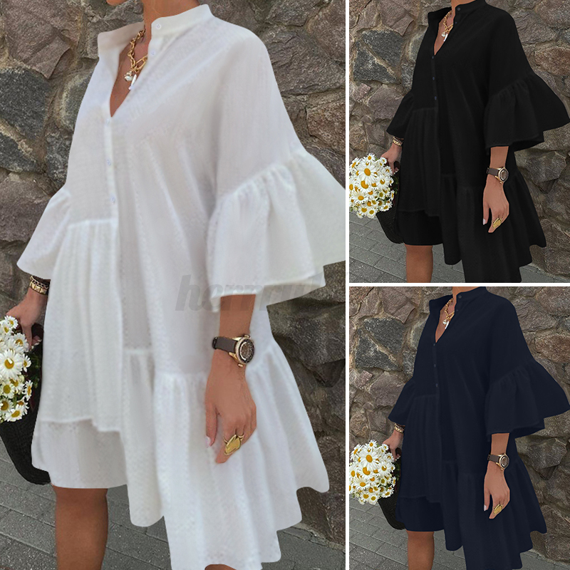 UK-Womens-Summer-Ruffles-Sleeve-Irregular-Hem-Sundress-Casual-Loose-Shirt-Dress