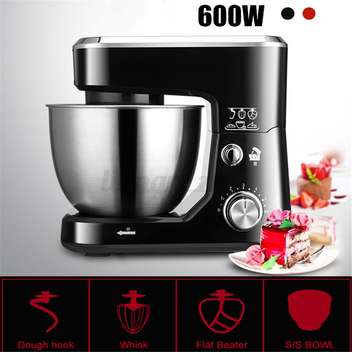 4L 600W Electric Food Stand Mixer With Bowl Dough Hook Titl-