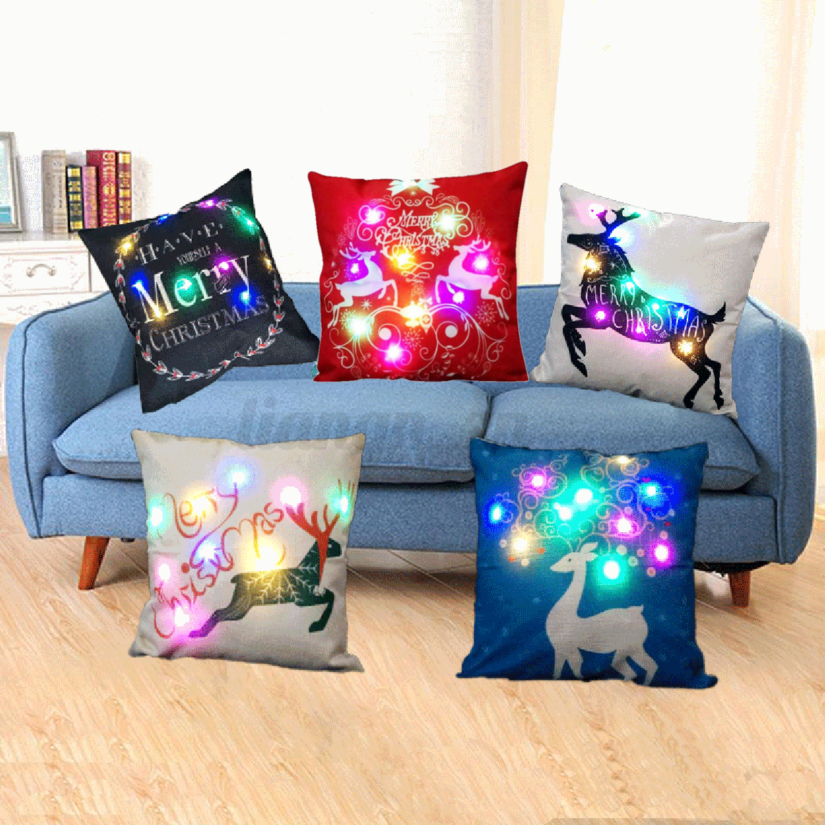 led no l housse de coussin p re no l taie d 39 oreiller sofa f te d coration maison ebay. Black Bedroom Furniture Sets. Home Design Ideas