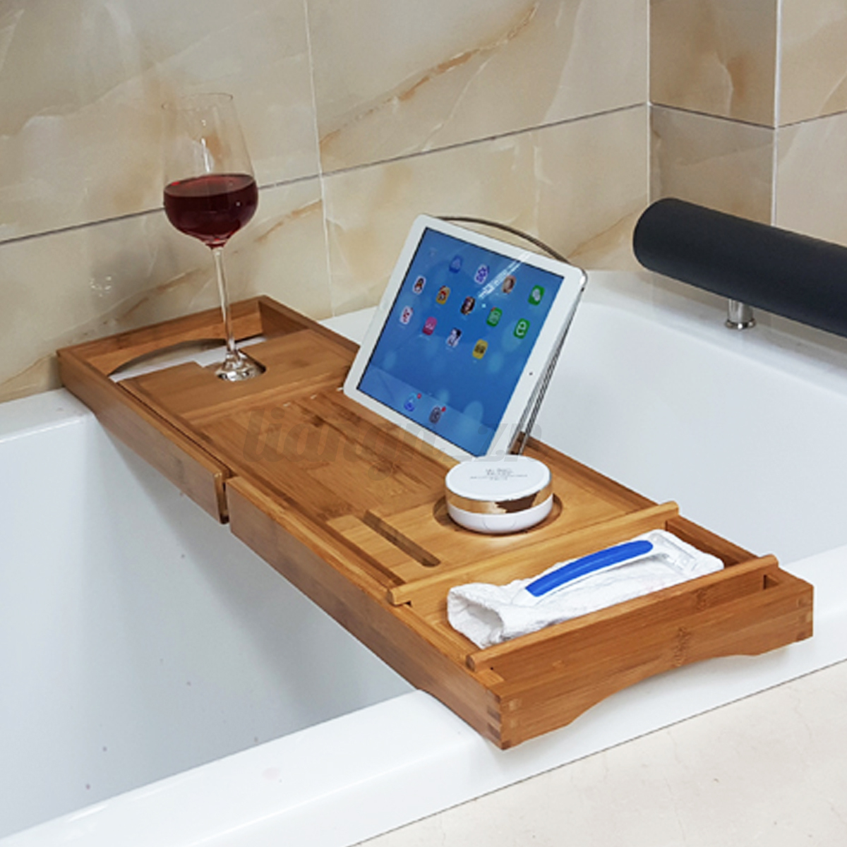 Extendable Bamboo Bath Caddy Wine Glass Holder Tray Over
