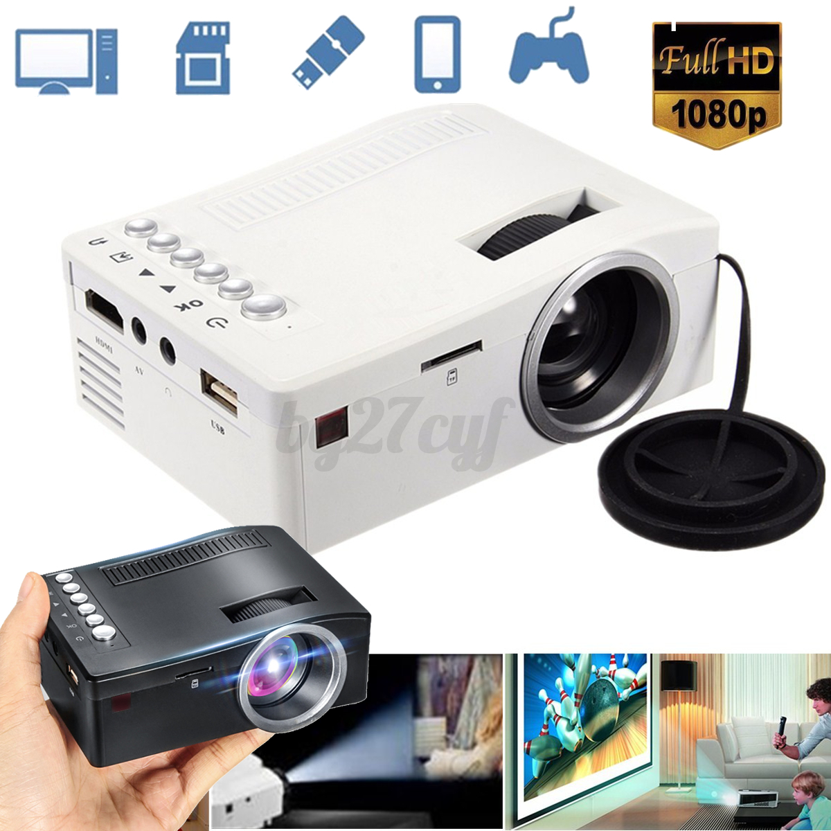 Portable 1080p hd mini projector multimedia home theater for Pocket hd projector 1080p