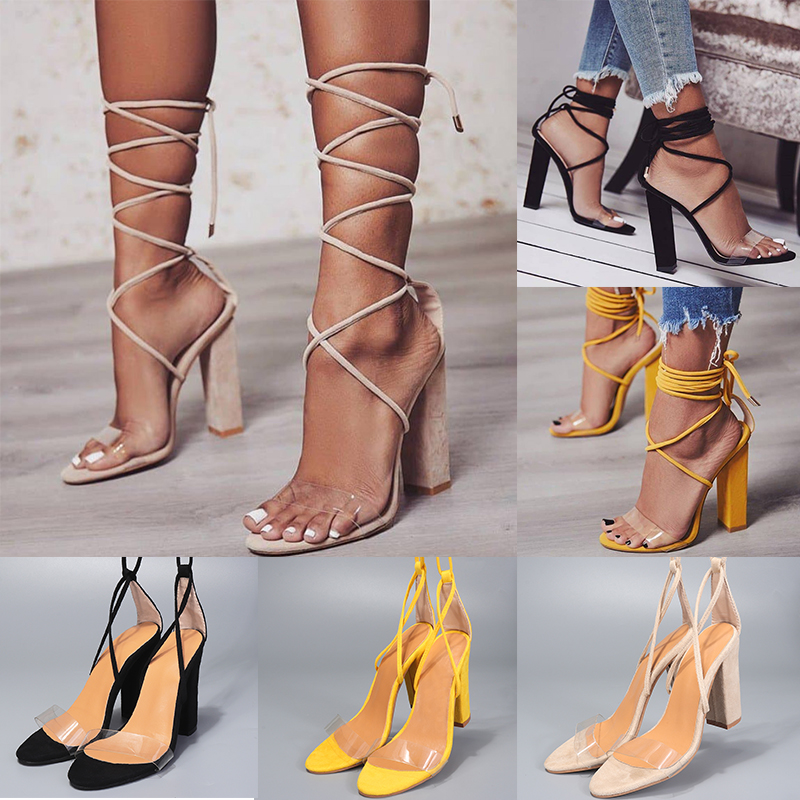 Details about 2018 Fashion Ladies Block High Heels Sandals Open Toe Lace Up Party Strappy Shoe
