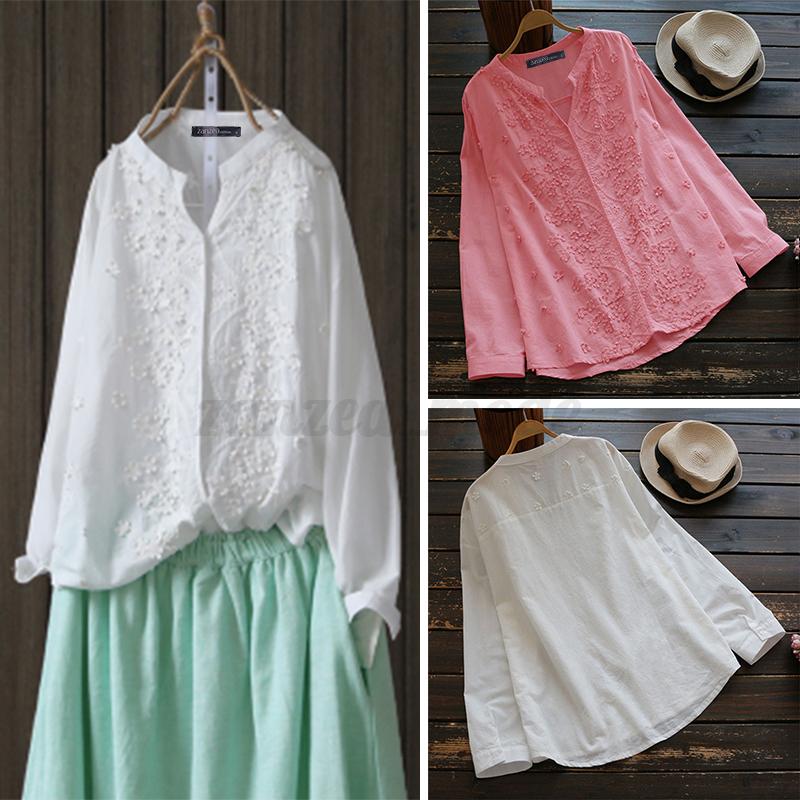 Oversize-Femme-Col-V-Broderie-Manche-Longue-Casual-Coton-Chemise-Tops-Shirt miniature 3
