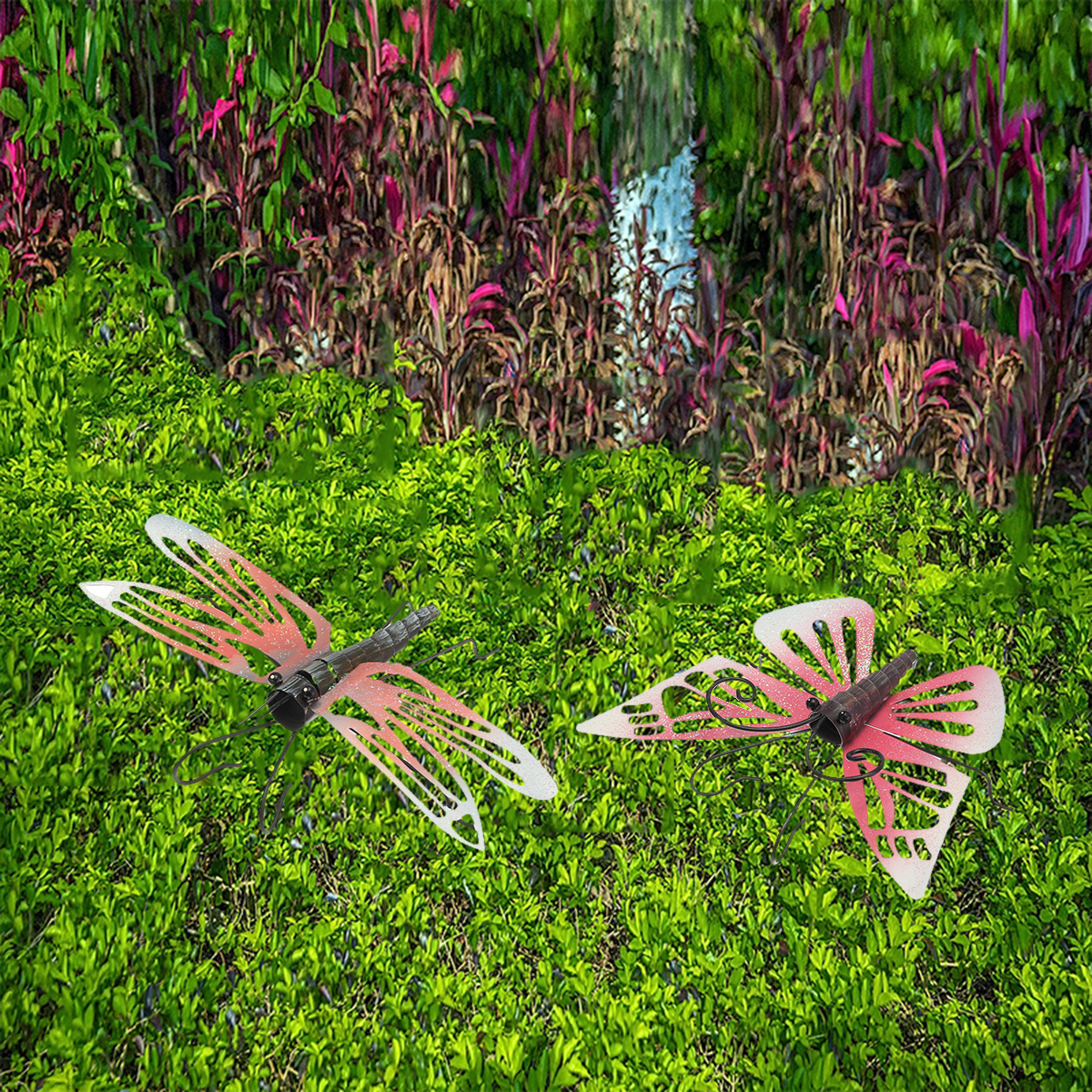 Butterfly fence hanger yard outdoor lawn wall art iron for Butterfly lawn decorations
