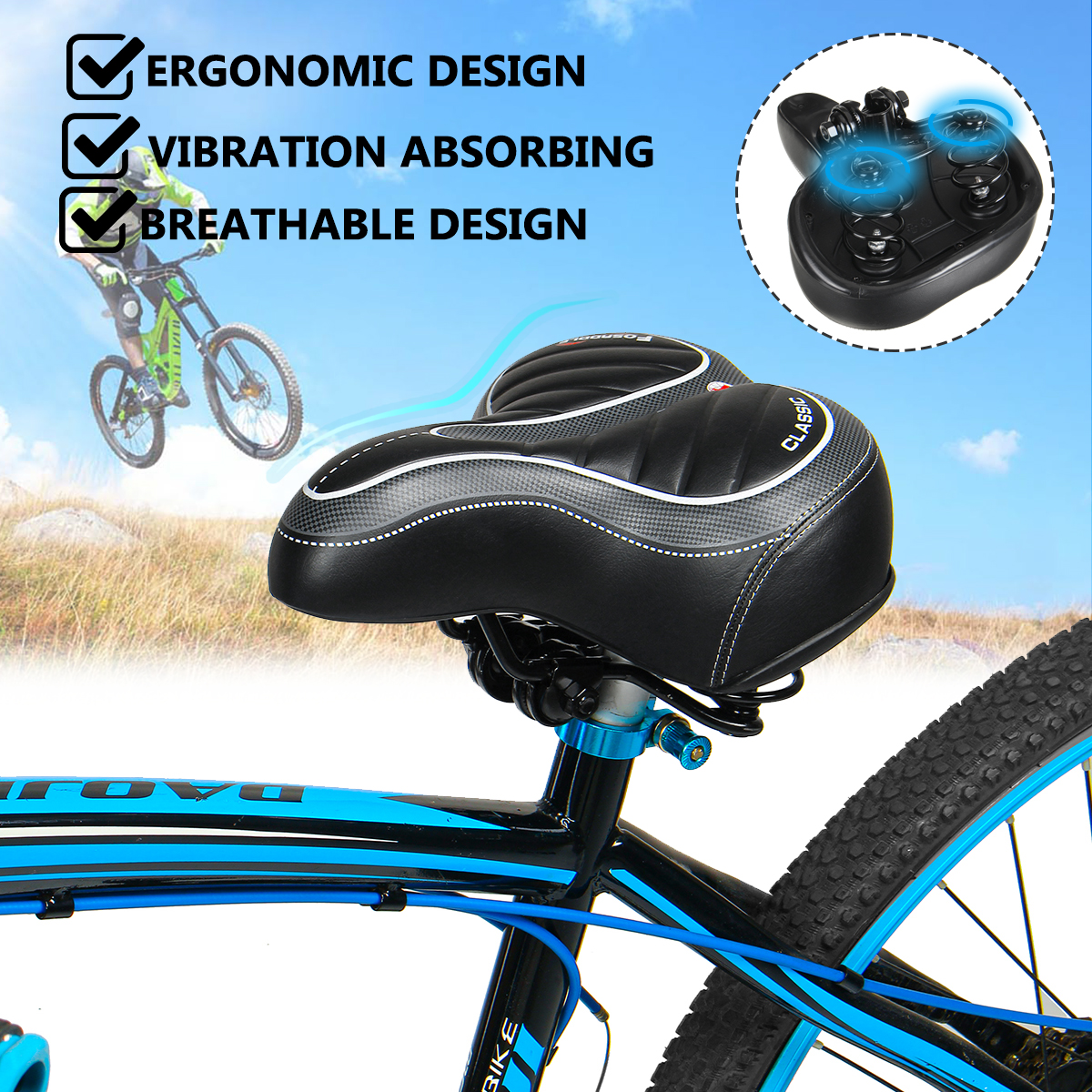 Unisex Extra Long Bike Bicycle Extra Comfort Deluxe Saddle Seat Hollow Design
