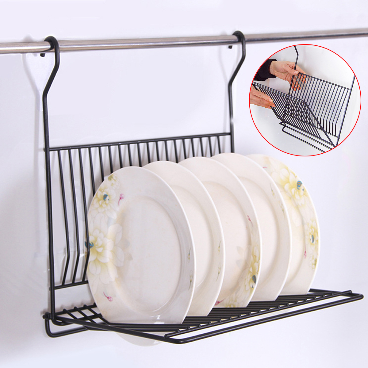 Collapsible Dish Rack Drainer Drying Wall Hanging Portable Cutlery Dryer Space Ebay