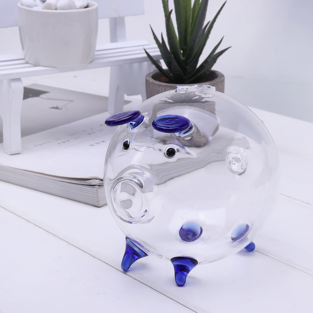 Clear Glass Piggy Bank Coin Money Cash Collectible Saving Box Jar Gift