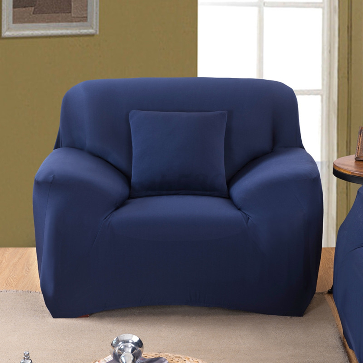 Sectional Sofa Covers With Recliners: NEW NAVY BLUE SLIPCOVER SOFA LOVESEAT CHAIR FURNITURE