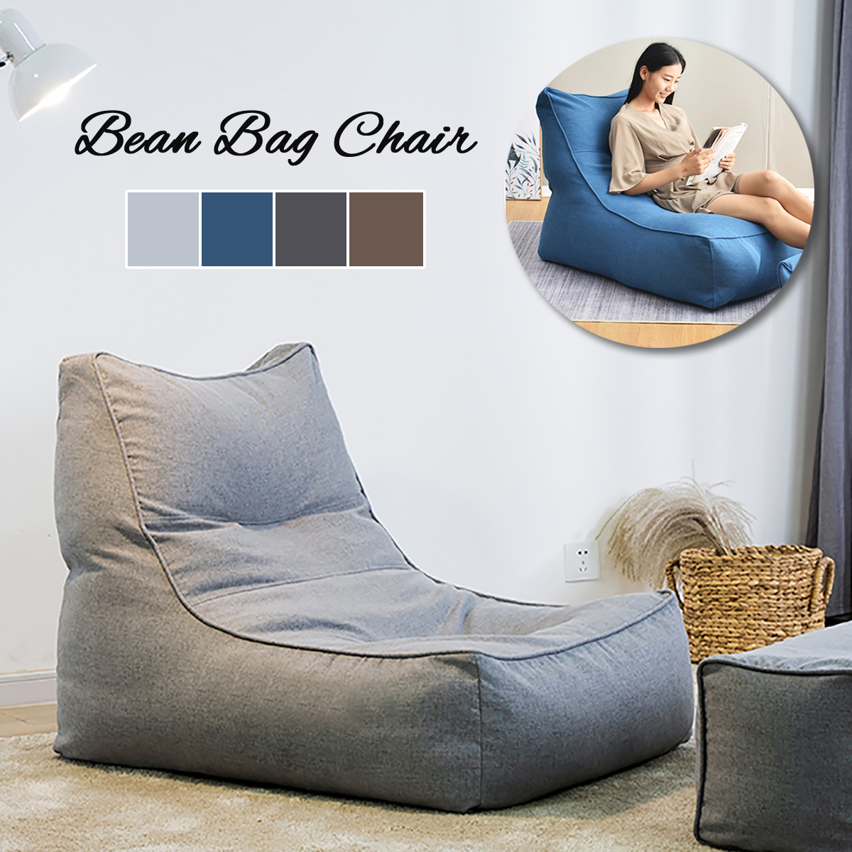 Admirable Details About Large Bean Bag Chair Bed Lounger Highback Adult Kids Gaming Sofa Slipcover Caraccident5 Cool Chair Designs And Ideas Caraccident5Info