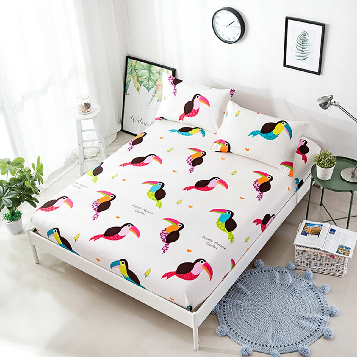 3 Piece Printed Pattern Cotton Bed Sheets Pillow Cases Single Double