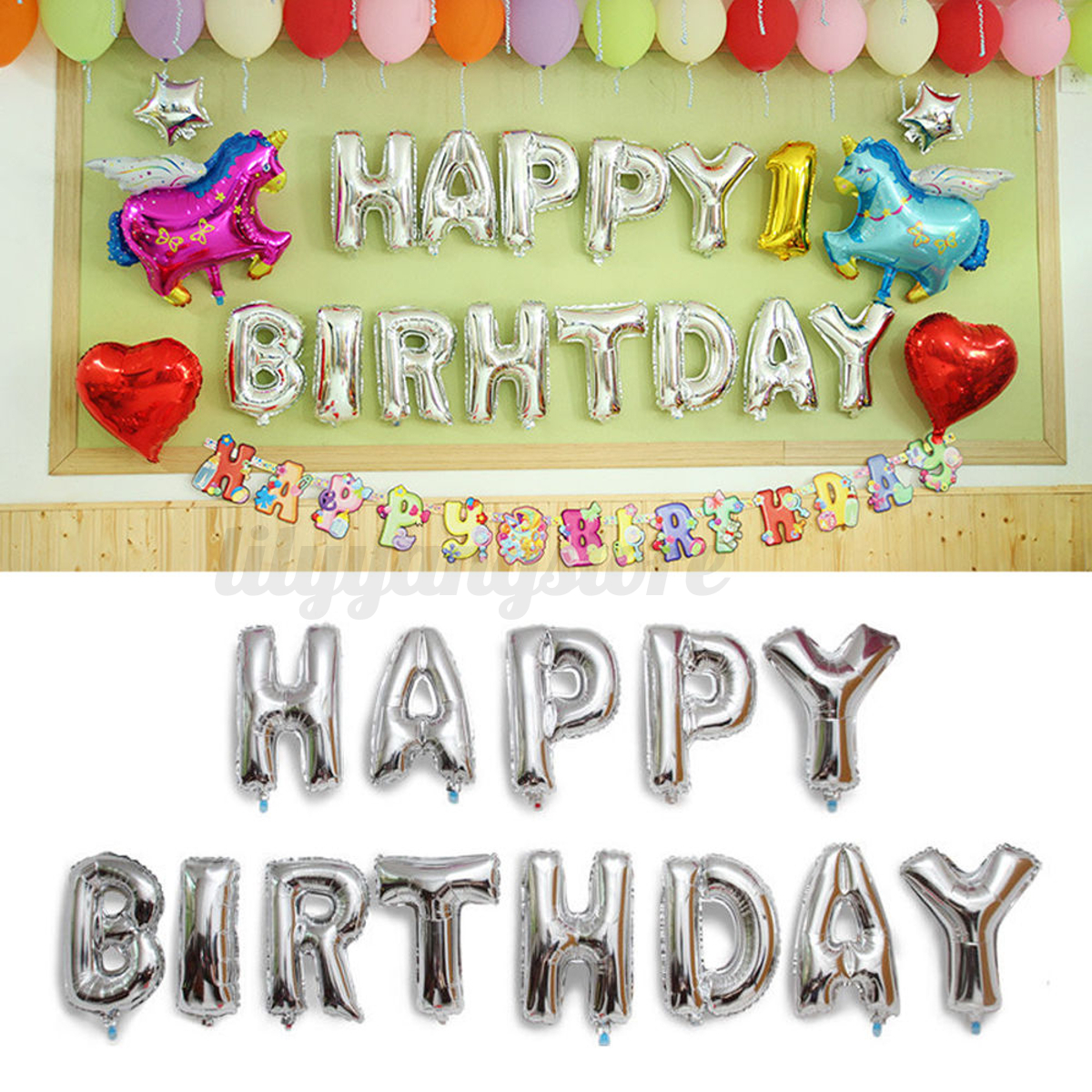 """13Pcs 16"""" """"HAPPY BIRTHDAY"""" Letters Foil Balloons For"""