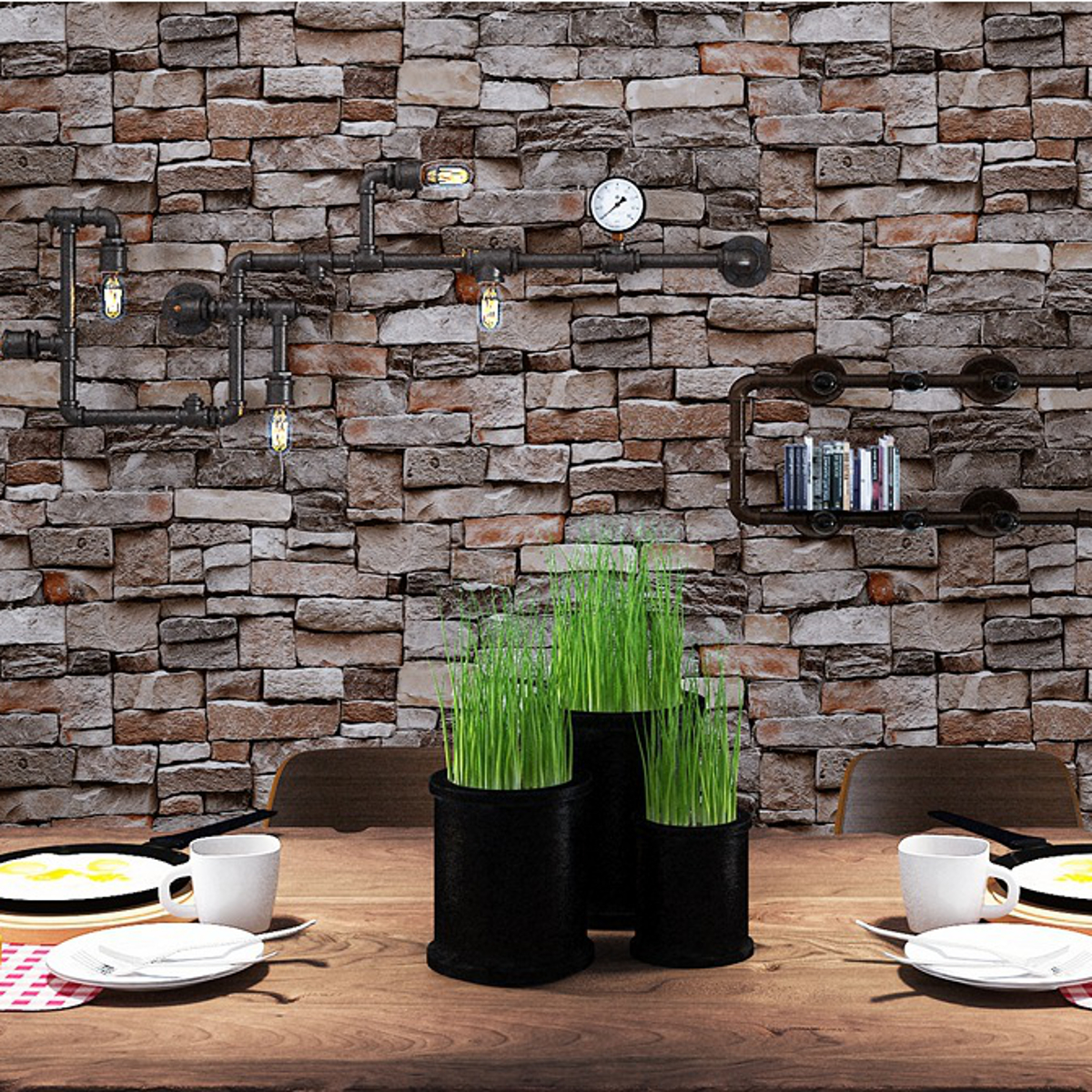 3D Brick Stone Embossed Textured Home Wallpaper Wall Paper
