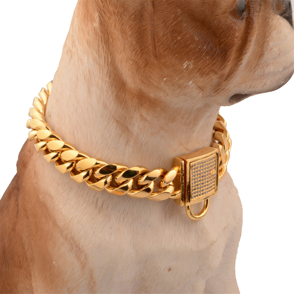 24''PET PUPPY DOG CHAIN COLLAR PUNK GOLD CAT WIDE NECKLACE COLLAR ADJUSTABLE STR