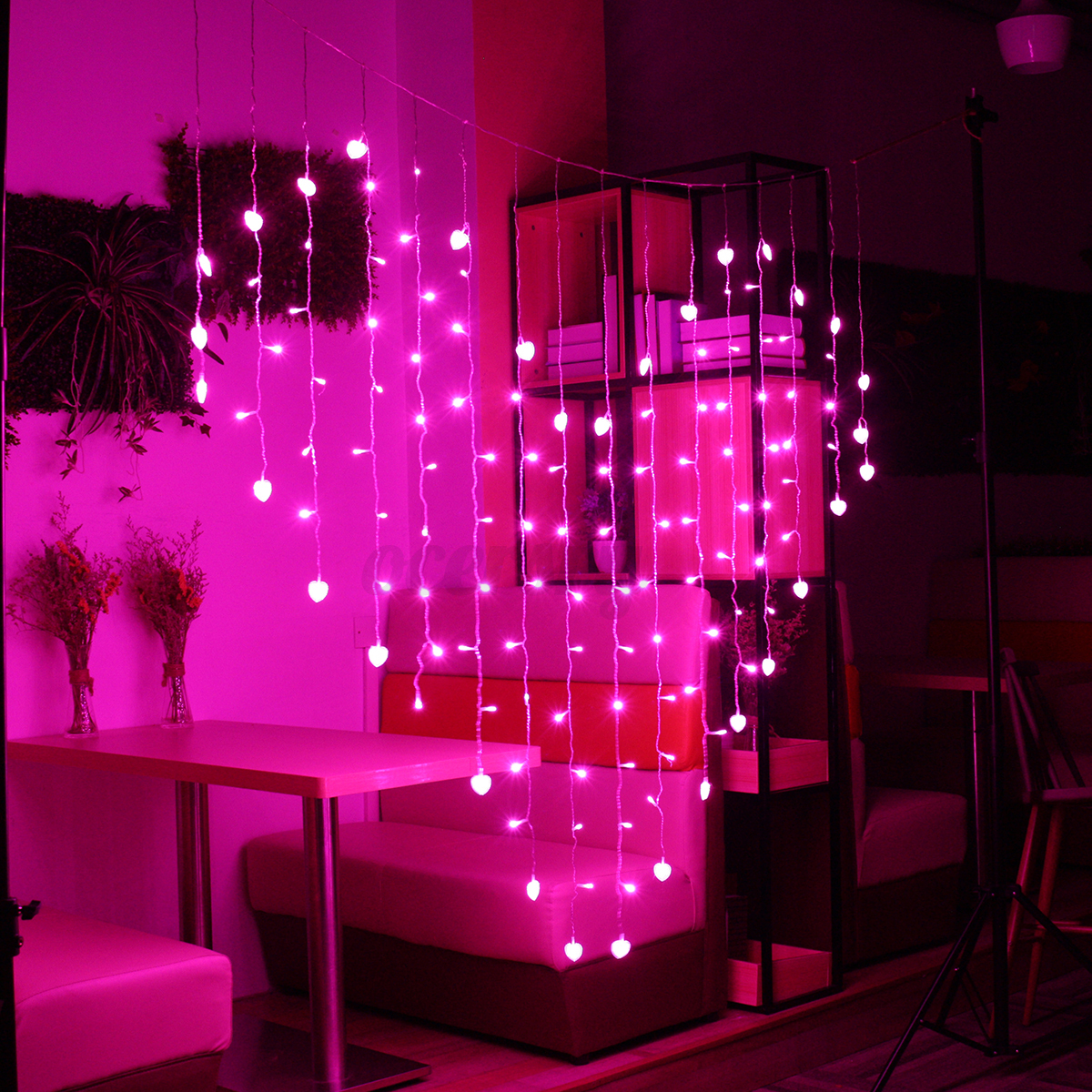led lichterkette herz fenster lichtervorhang weihnachten hochzeit party dekor ebay. Black Bedroom Furniture Sets. Home Design Ideas