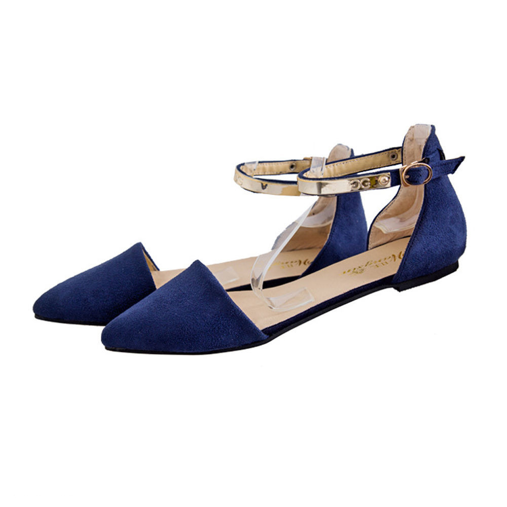 Flat heel sandals images - Womens Pointed Toe Ankle Strap Flat Heel Sandals