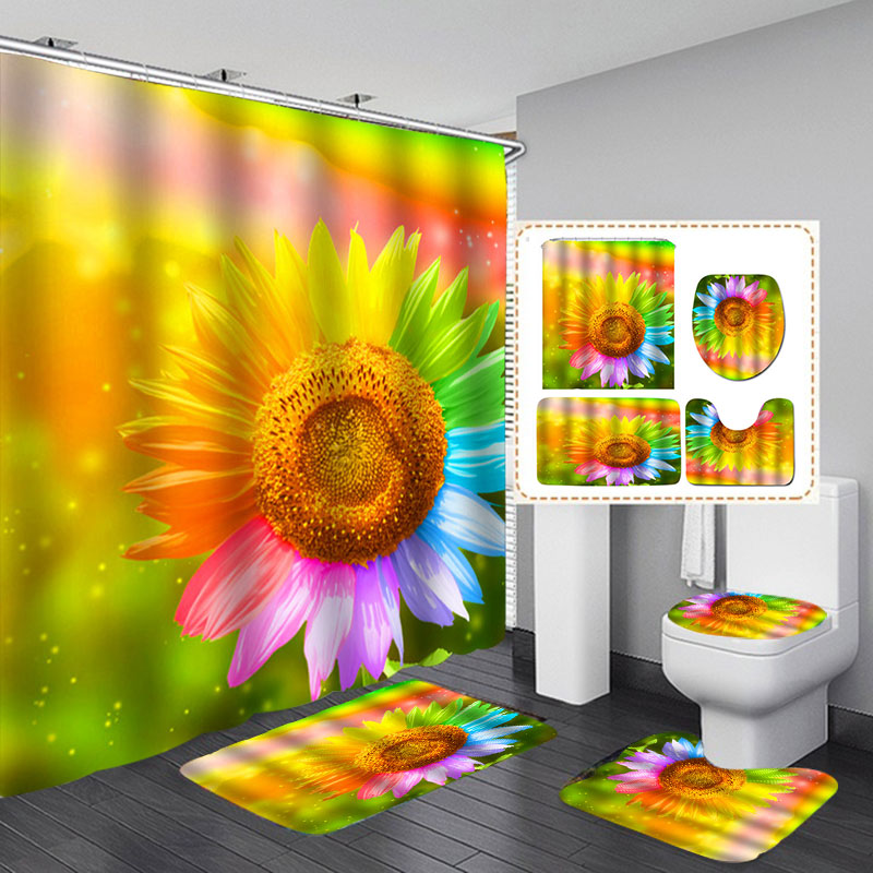 Details About 4pcs Sunflower Bathroom Set Waterproof Shower Curtains Floor Mat Toilet Rug